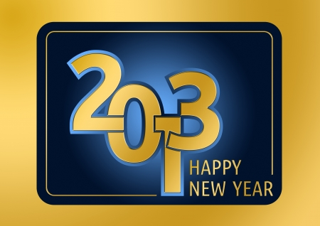 Golden graphical emblem for the New Year 2013 photo