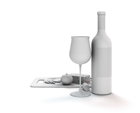 3d render showing a white abstract still life with wine Standard-Bild