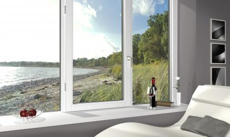 FICTITIOUS Wohnzimmer mit einem schönen Blick auf den Strand - 3d render Lizenzfreie Bilder