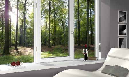 FICTITIOUS lonesome living room with a beautiful view into the forest - 3d render photo