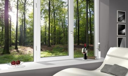 FICTITIOUS lonesome Wohnzimmer mit einem schönen Blick in den Wald - 3d render