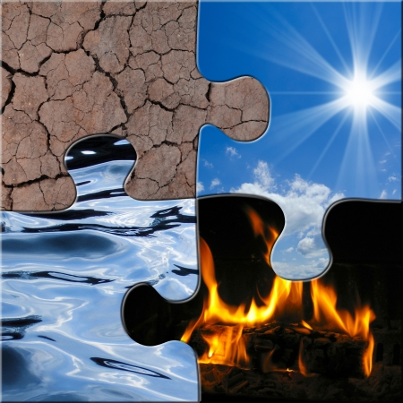 symbolic image showing the four elements air, water, fire, soil
