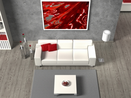 FICTITIOUS modern living room in aerial view, the image in the frame is created by me, no rights are infringed