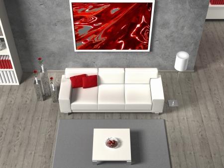 FITTIZIA soggiorno moderno in vista aerea, l'immagine nel telaio è stato creato da me, senza diritti vengono violati