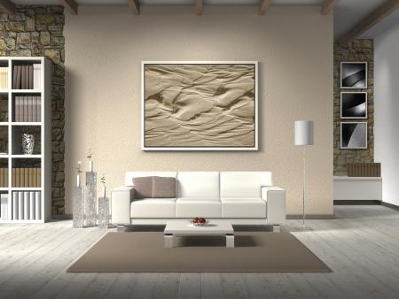 FICTITIOUS Landhausstil Wohnzimmer mit weißen Sofa, das Foto hinter dem Sofa kann leicht ausgetauscht werden, die Fotos im Hintergrund von mir genommen - keine Rechte verletzt werden
