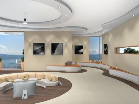 lujoso interior futurista con una hermosa vista al lago - las fotos en el marco y en el fondo son originales Foto de archivo