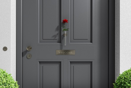 welcome door: FICTITIOUS metaphorical welcome image showing a classical door with welcome sign and a red rose - 3d rendering and my own design