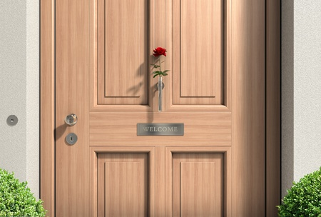 metaphorical: FICTITIOUS metaphorical welcome image showing a classical door with welcome sign and a red rose - 3d rendering and my own design