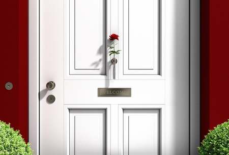 ruby house: FICTITIOUS metaphorical welcome image showing a classical door with welcome sign and a red rose - 3d rendering and my own design