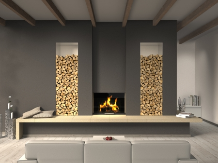 FICTITIOUS country style living room with fireplace Stock Photo