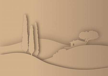tuscany landscape stylized as paper silhouette Illustration