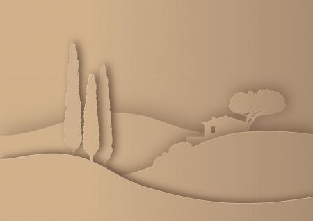 Tuscany paesaggio stilizzato come silhouette carta Vettoriali