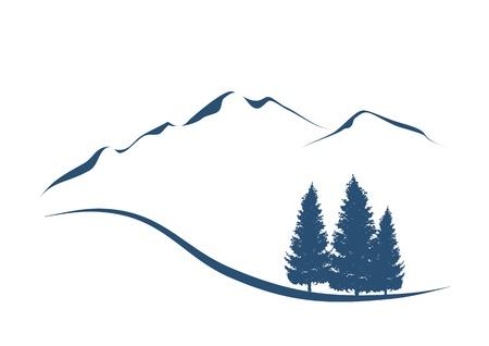 gestileerde illustratie toont een alpine landschap met bergen en sparren