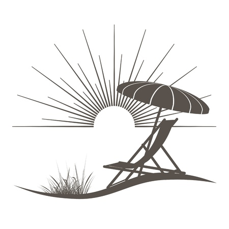 beach chair and sunshade illustration with a beautiful view to the sea Vettoriali