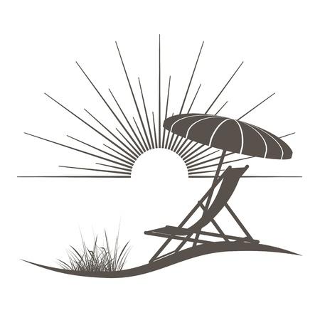 Strandkorb und Sonnenschirm Illustration mit einem schönen Blick auf das Meer Illustration