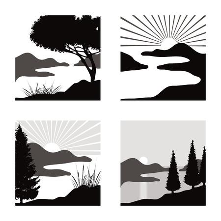 stylized coastal landscape illustrations fot usage as pictograms Vettoriali
