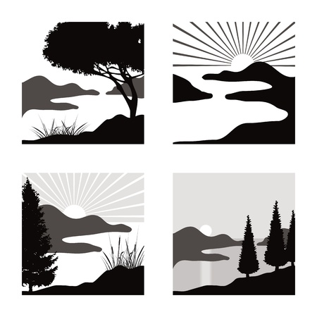 lake sunset: stylized coastal landscape illustrations fot usage as pictograms Illustration