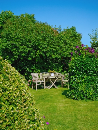 premises: garden with furniture in the summer