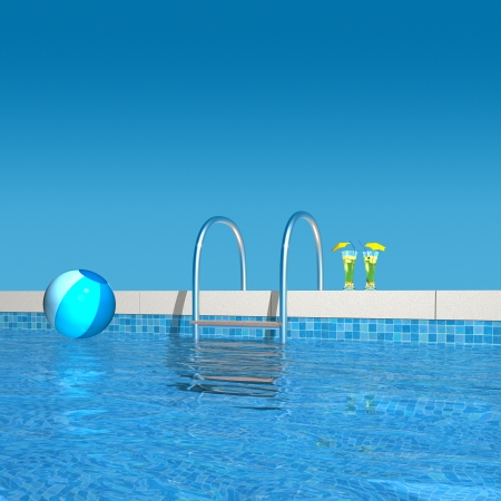 3d rendering showing the view to the pool ladder Stock Photo - 21771282