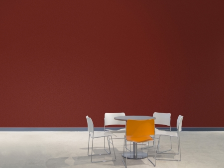 ruby house: chairs and a table in front of a maroon wall with space to paste your own images