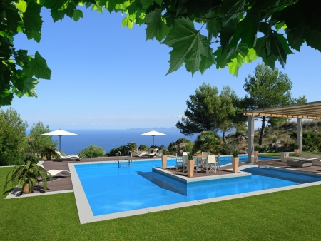 mediterranean home: swimming pool with an islet in the middle and a beautiful view to the sea - rendering