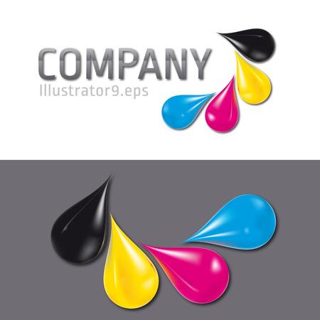 offsetdruck: vier Tropfen Aufbau einer CMYK-Label Illustration