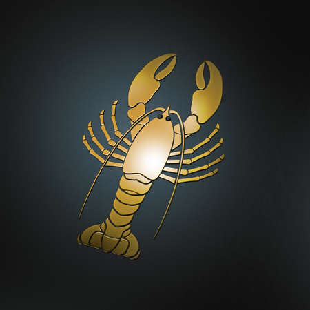 haut: glossy golden lobster emblem on black background with copy space Stock Photo
