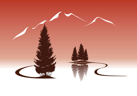 riverside tree: lake and firs in the mountains landscape illustration