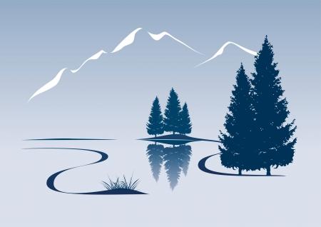 ilustración estilizada que muestra un río y el paisaje de montaña Vectores