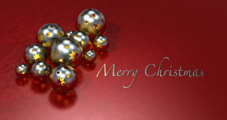 golden shimmering christmas balls on maroon background with copy space photo