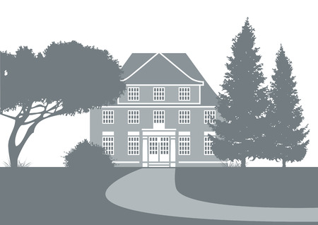 classicism: stylized illustration showing an old mansion in a park