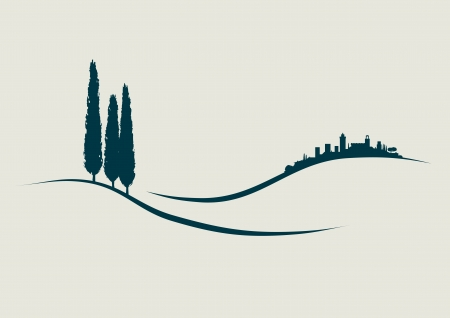 cypress: stylized Illustration showing San Gimignano in Tuscany Italy Illustration