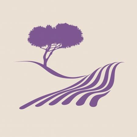 paisaje rural: Ilustración estilizada que muestra el paisaje rural de la Provenza Vectores