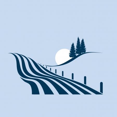 agrario: ilustraci�n estilizada que muestra un paisaje agrario Vectores