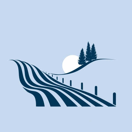 stylized illustration showing an agrarian landscape Vector