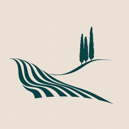 stylized illustration of a typical Italian rural landscape Illustration