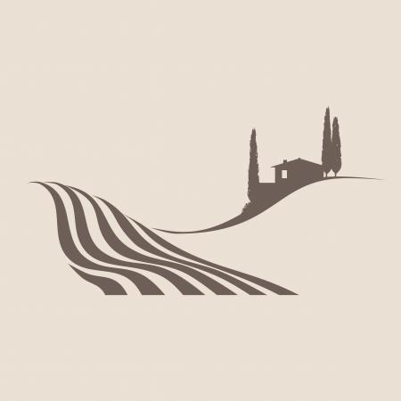 투스카니에있는 전형적인 시골 풍경의 양식에 일치시키는 그림
