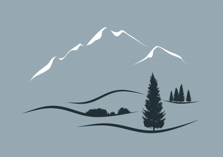 stylized illustration of an alpine landscape