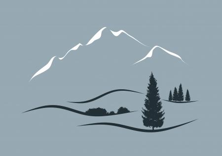 stylized illustration of an alpine landscape