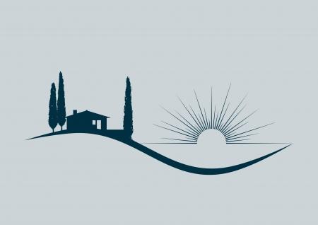 estilizada ilustración con una casa de vacaciones junto al mar Ilustración de vector