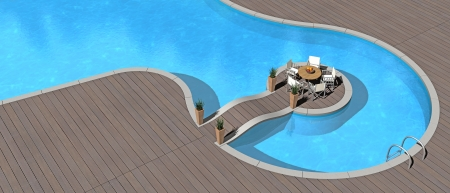 islet: summer vacations image showing an islet in a beautiful swimming pool - fictitious 3d render