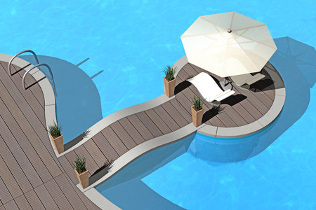 pool deck: summer vacations image - swimming pool, sunshade and deckchairs - 3d render Stock Photo