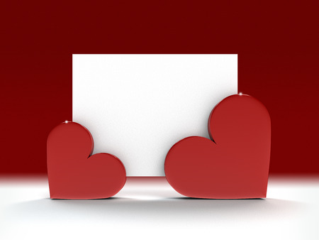 Valentine greeting card fixed by two hearts with copy space for your own text photo