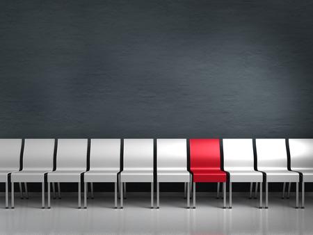 peer to peer: conceptual render que muestra una fila de sillas con un ser diferente Foto de archivo
