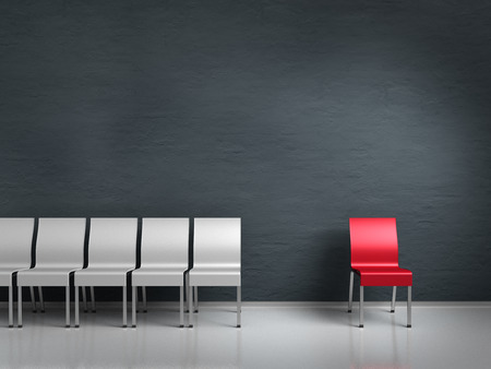 conceptual render showing an outsider symbolized by chairs
