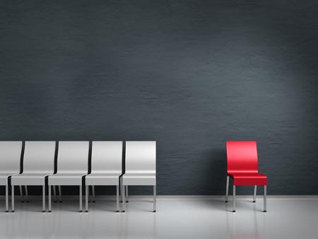 peer to peer: conceptual render que muestra un extraño simbolizado por las sillas Foto de archivo