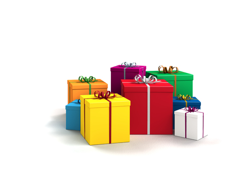 a lot of bright colorful gifts for birthday or christmas photo