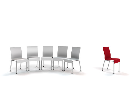 conceptual render showng xenophobia symbolized by chairs Stock Photo