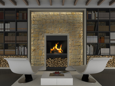 country house: FICTITIOUS interior rendering with library and fireplace