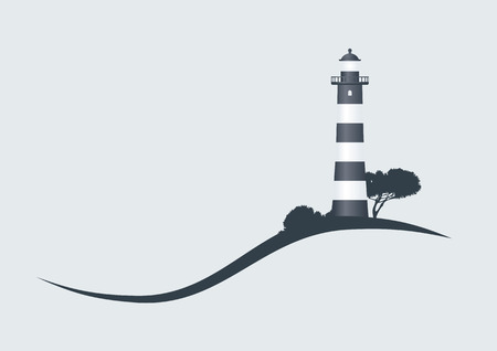 Lighthouse: hillside black striped lighthouse vector illustration